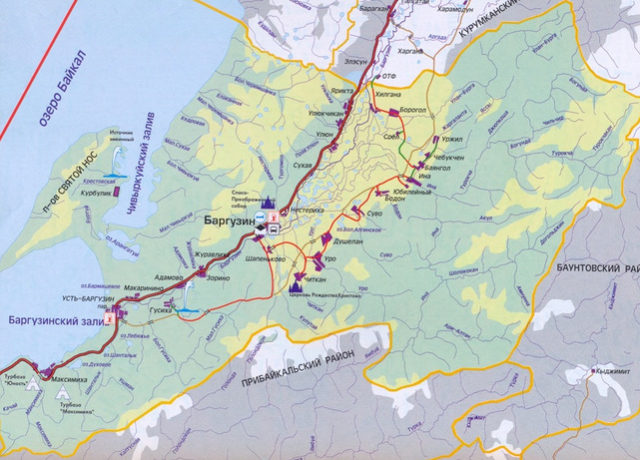 Карта и горячие источники Баргузинской долины